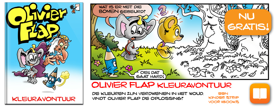 Olivier Flap Kleuravontuur kinder strip voor iBooks
