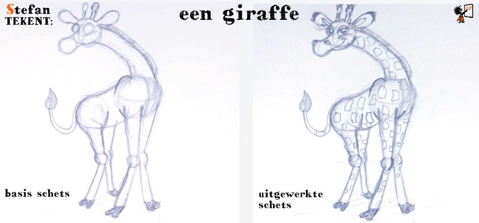 StefanTekent-giraffe-schets