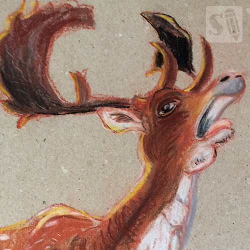 Draw a deer with pastelpencils