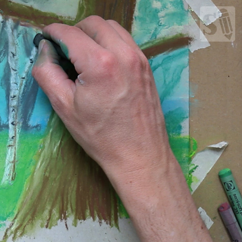 Drawing forest with pastels
