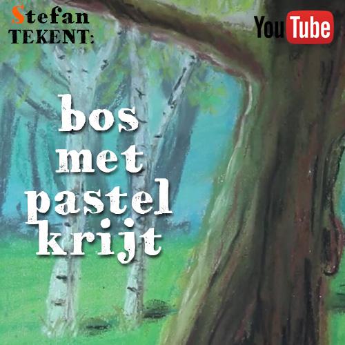 Bos tekenen met pastelkrijt