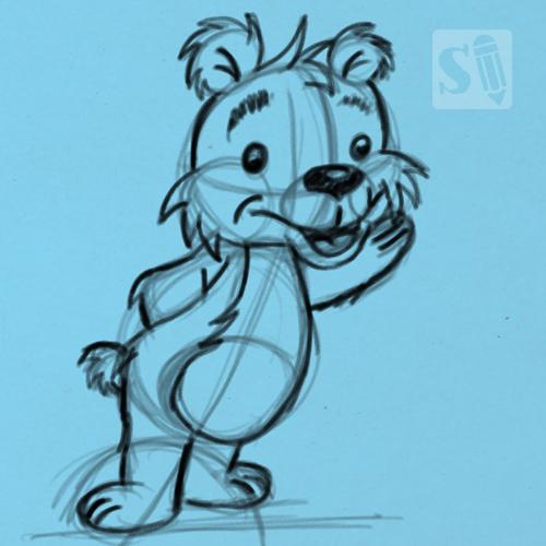 Cartoon Bear in 5 Steps