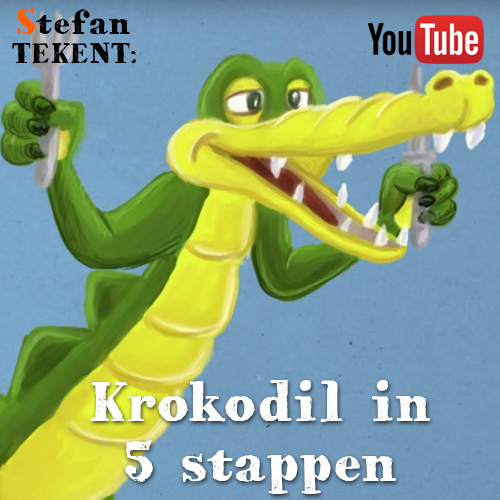 Cartoon krokodil tekenen
