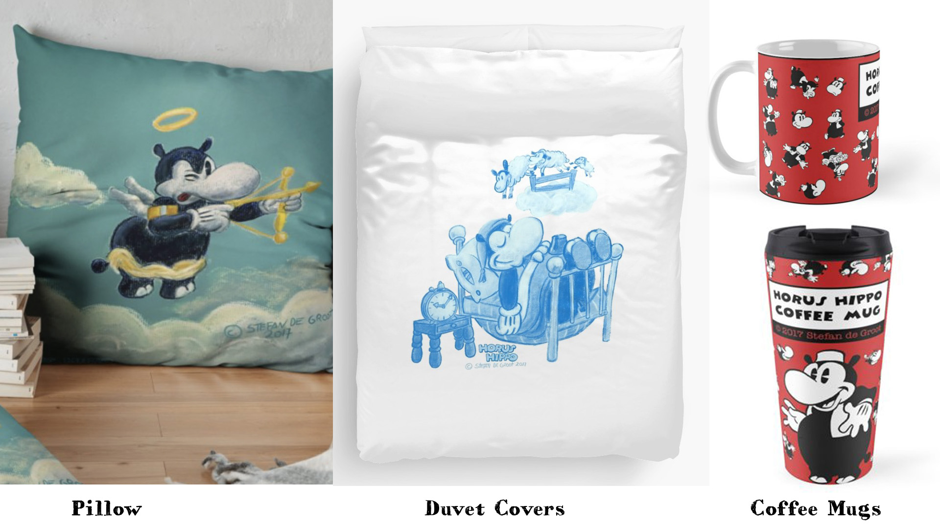 Horus Hippo Merchandise, Duvet,Pillow, Coffee Mug