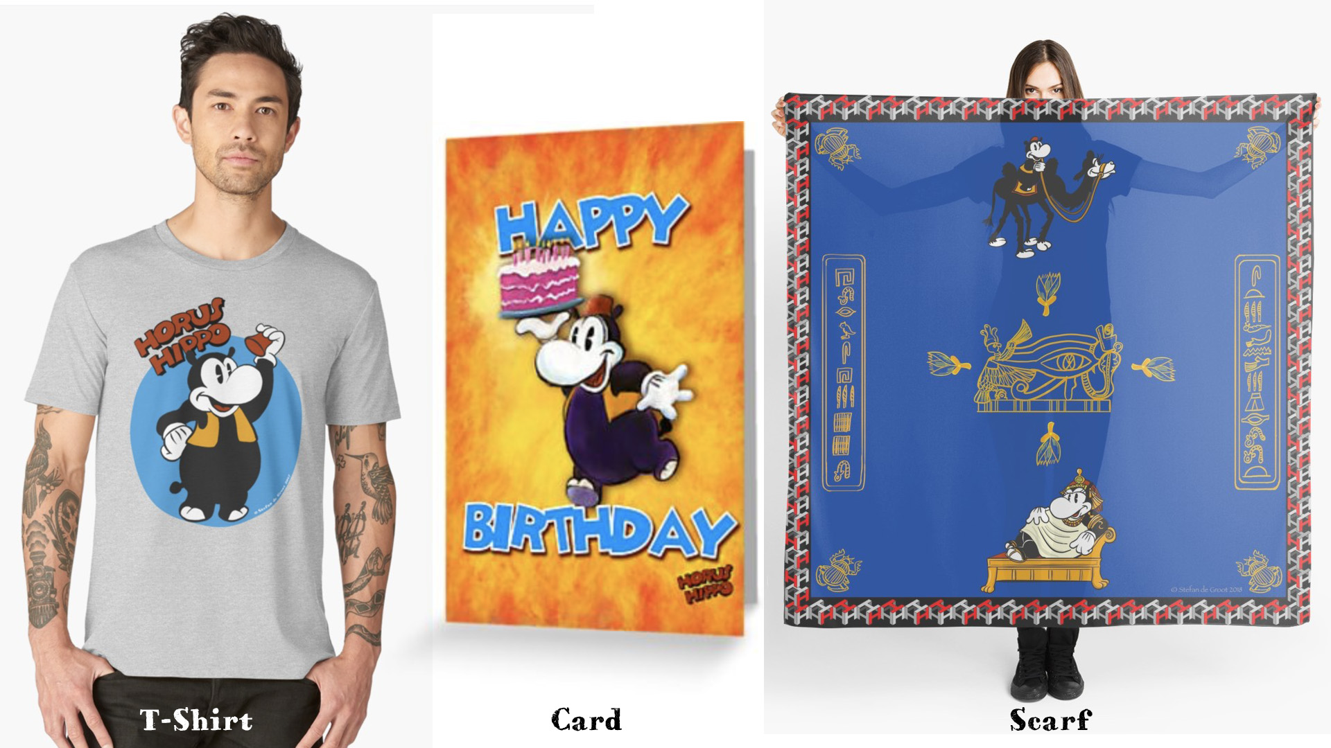 Horus Hippo T-Shirt, Card, Scarf