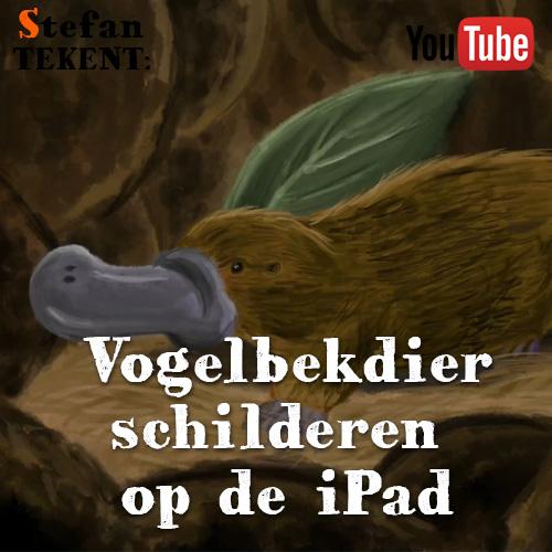 Vogelbekdier schilderen op iPad