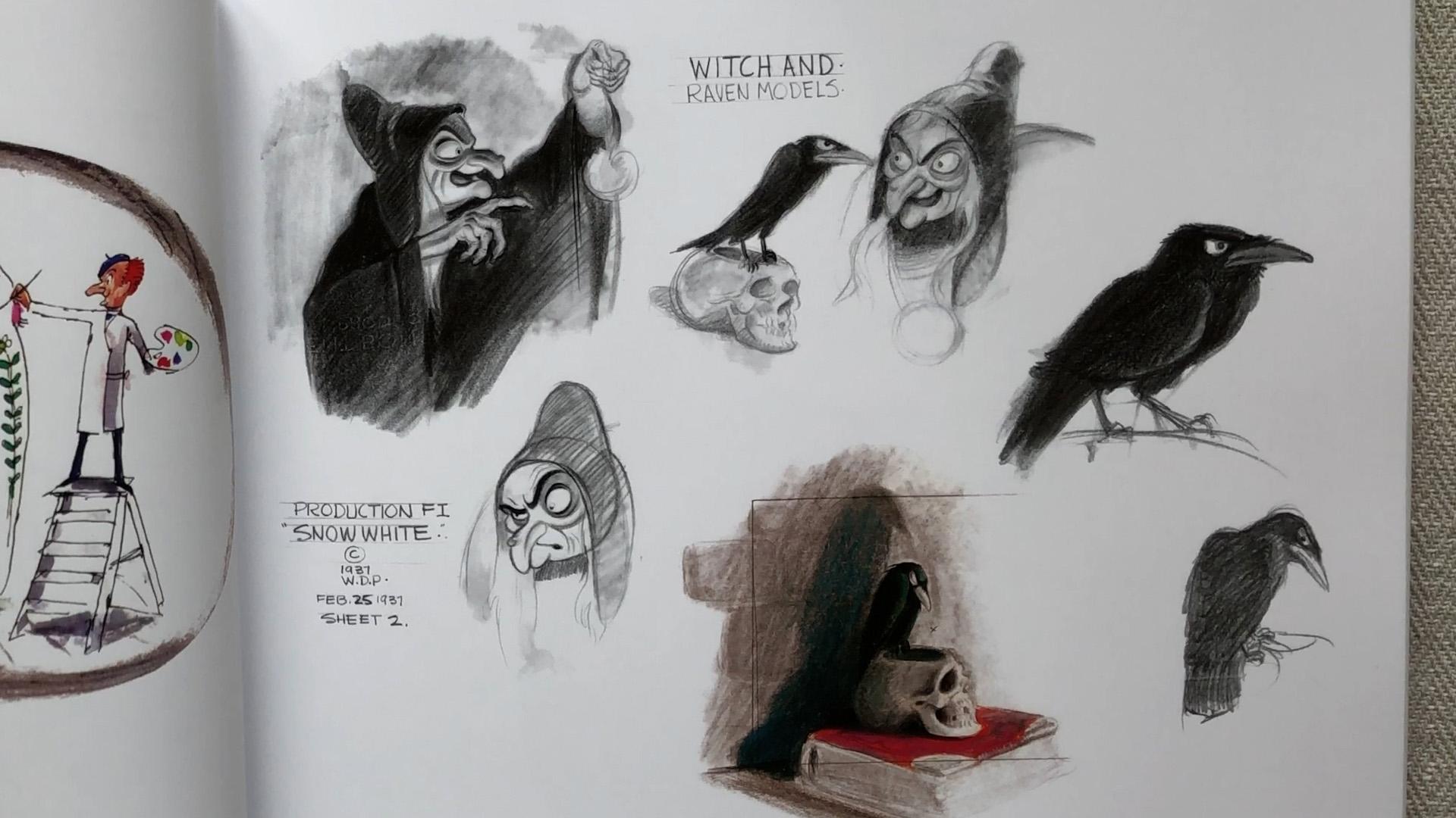 Joe Grant concept design Snow White Witch and Raven